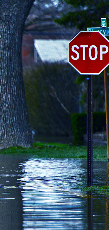 Flood area with stop sign